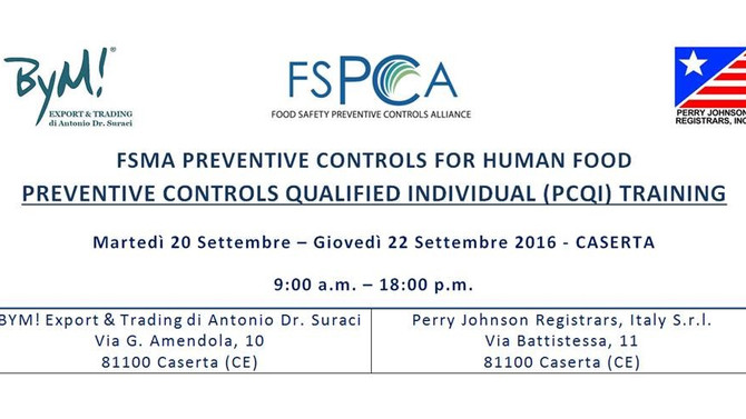 Export USA - VARIAZIONE NORMATIVA US FDA (FSMA) - FINAL RULE in vigore da Settembre 2016 - PCQI Trai