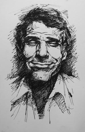 "Steve, 2015, Ink on Paper, 6""x8"""