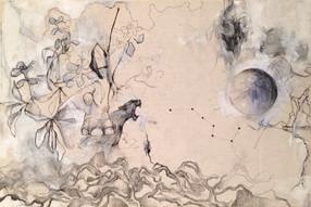 "Celestial, 2017, Acrylic and Ink on Canvas, 15""x22"""