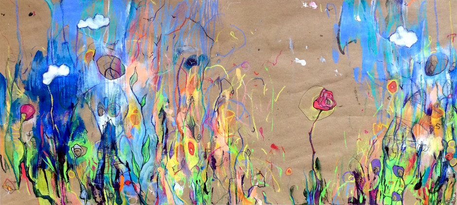 "Biota, 2017, Acrylic, Pencil and Pen on Paper, 12""x25"""