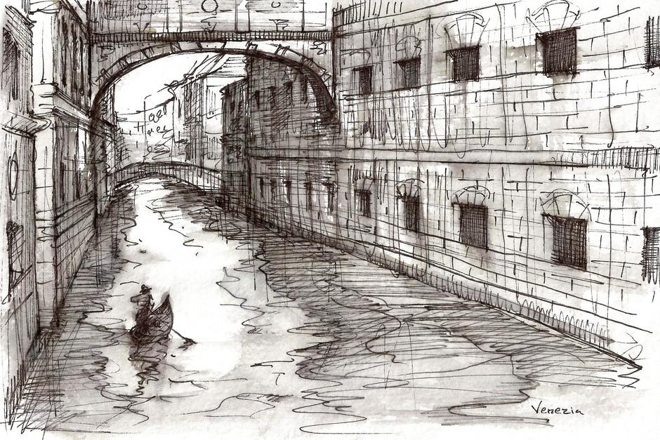 """Venezia, 2014, Ink on Paper, 6""""x9"""""""