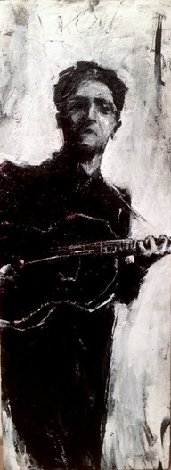 "The Guitarist, 2018, Acrylic on Wood, 14""x6"""
