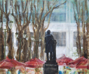 """The Reading Room (Bryant Park Corporation: 2015 Painter in Residence Program), Acrylic on Canvas, 16""""x18"""""""
