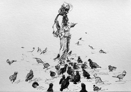 "The Pigeons, 2015, Ink on Paper, 8""x12"""