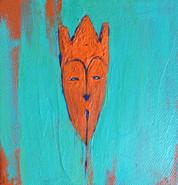 "Mask in Orange, 2017, Acrylic on Canvas, 4""x4"""
