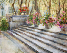 """Steps In The Park (Bryant Park Corporation: 2015 Painter in Residence Program), Acrylic on Canvas, 18""""x20"""""""