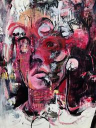 "Vestige, 2019, Acrylic, Ink & Wax Pencil on Paper, 9""x12"""