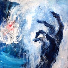"""Hand, 2017, Acrylic on Canvas, 8""""x8"""""""