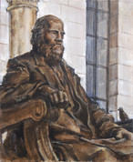 """William Cullen Bryant Monument (Bryant Park Corporation: 2015 Painter in Residence Program), Acrylic on Canvas, 20""""x24"""""""