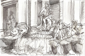 """Roma, 2014, Ink on Paper, 6""""x9"""""""