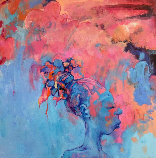 """Pink Sky, 2018, Acrylic on Wood, 18""""x18"""""""