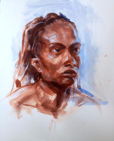 "Gaze, 2014, Acrylic on Paper, 14"" x 14"""