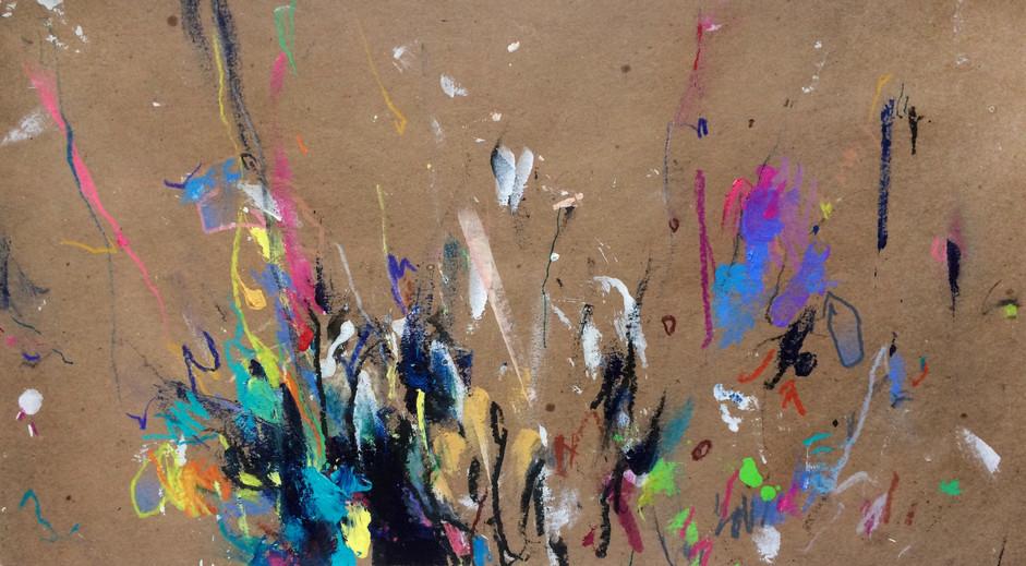 "Splash, 2017, Acrylic and Pencil on Paper, 7""x13"""