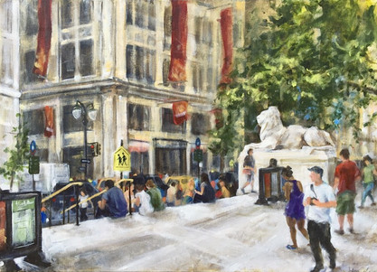 """New York Public Library (Bryant Park Corporation: 2015 Painter in Residence Program), Acrylic on Canvas, 20""""x24"""""""