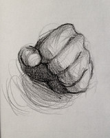 """Fist, 2016, Charcoal on Paper, 8""""x8"""""""