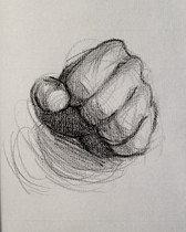 "Fist, 2016, Charcoal on Paper, 8""x8"""