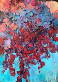 "Bubbled, 2018, Acrylic on Canvas, 30""x42"""