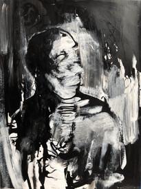 "Adrift, 2019, Acrylic & Ink on Paper, 9""x12"""