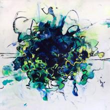 "Burst, 2017, Acrylic on Paper, 9""x9"""