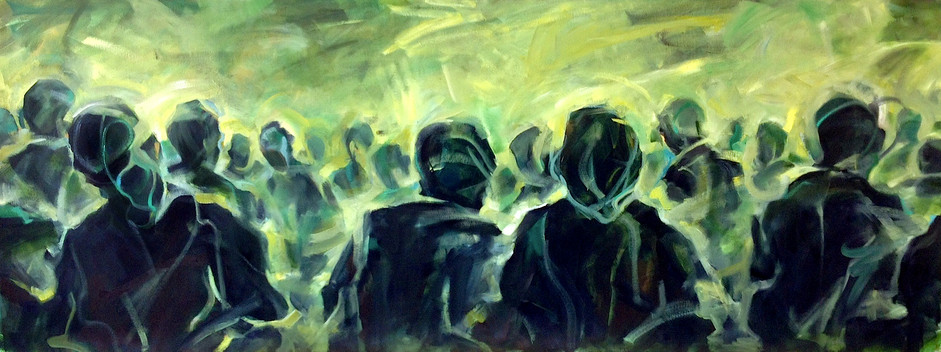 """Crowd, 2015, Oil on Canvas, 35"""" x 75"""""""