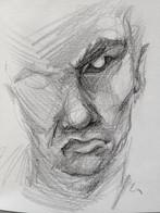 "Evil Eye, 2016, Charcoal on Paper, 8""x12"""