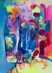 "Wavelength, 2019, Acrylic & Colored Pencil on Board, 5""x7"""