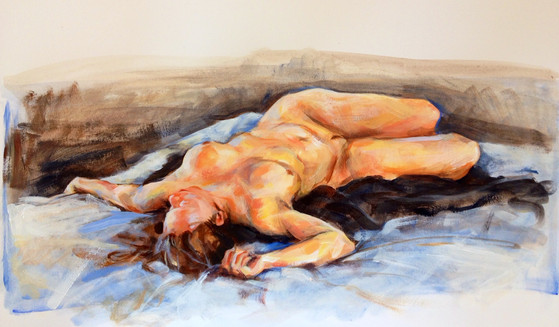 "Repose, 2014, Acrylic on Paper, 10"" x 17"""