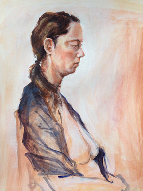 "Profile, 2014, Acrylic on Paper, 12"" x 15"""