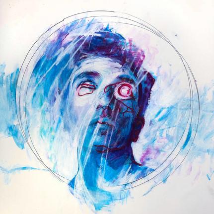 "Aperture, 2019, Acrylic & Wax Pencil on Paper, 12""x12"""