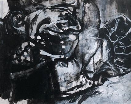 "Smirk, 2020, Acrylic, Ink & Wax Pencil on Paper, 14""x11"""