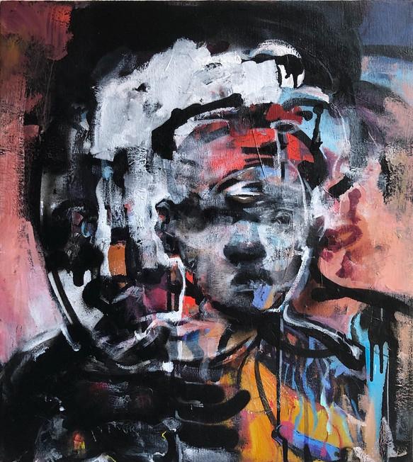 "Dissonance, 2020, Acrylic on Canvas, 18""x20"""