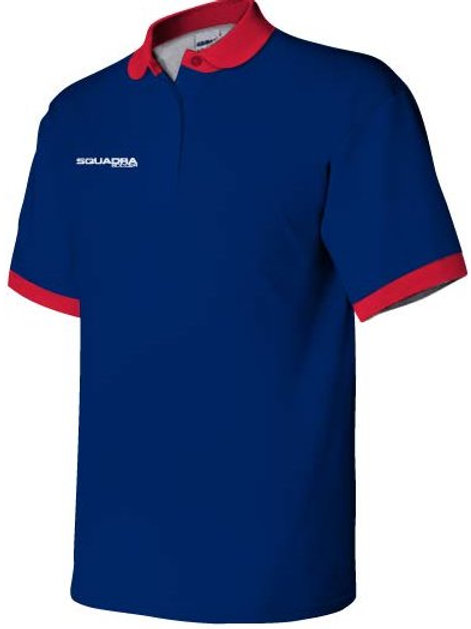 3- Button Navy Polo with Red Collar and Cuffs