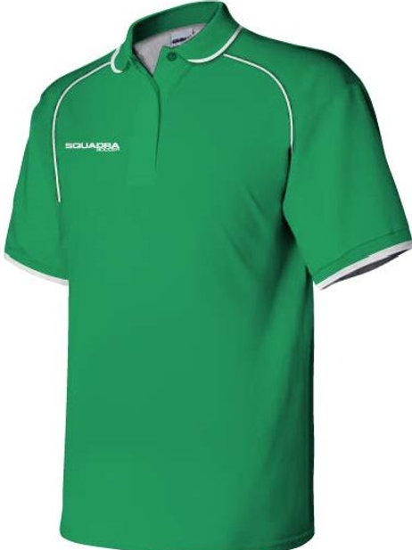 3- Button Green Squadra Polo with White Piping