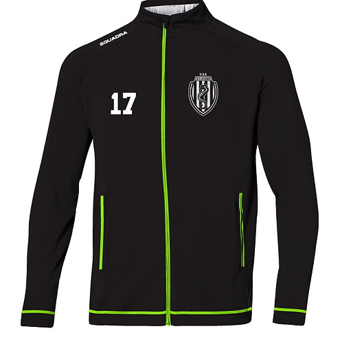 Cesena Track Jacket, Black/Neon Yellow
