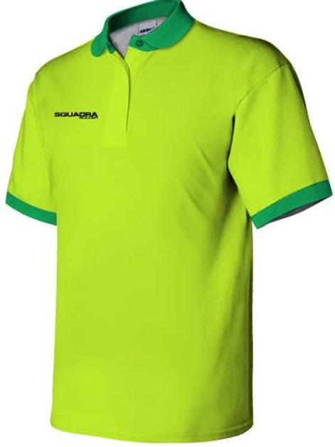 3- Button Neon Yellow Polo with Neon Green Collar