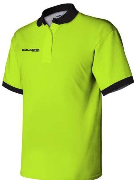 3-Button Neon Yellow Polo with Black Collar