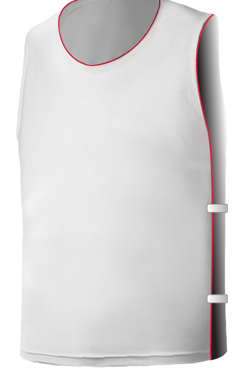 SQ Training Bib - White with Red Blank with Elastic