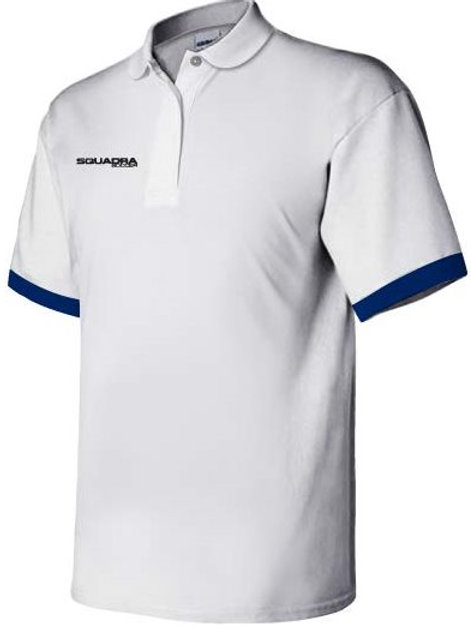 3-Button White Polo with Royal Blue Cuffs