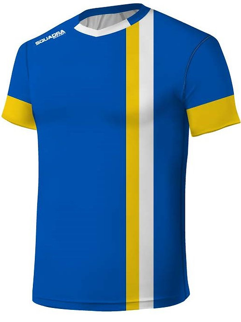Blue Jersey with White and Yellow Stripes