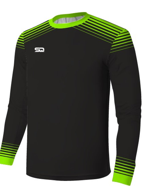 SQ Goal Keeper LS Jersey - Black-Green (include Logo and Number)