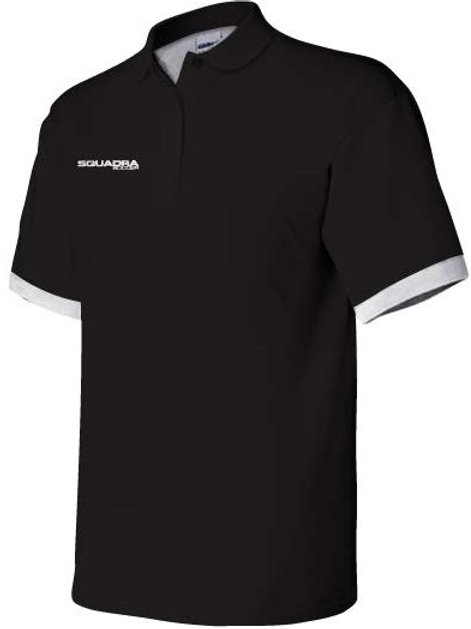 3- Button Black Polo with White Cuffs