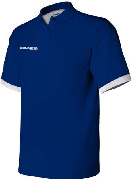 3-Button Navy Blue Polo with White Cuffs