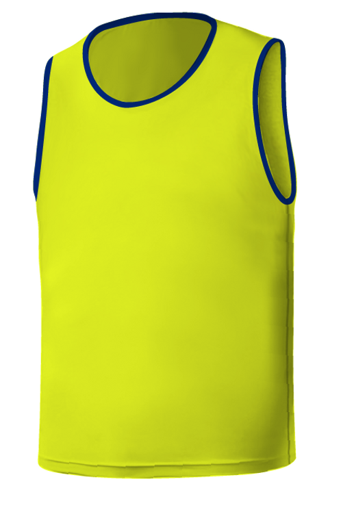 SQ Training Bib - Yellow Neon with Blue Trim Blank