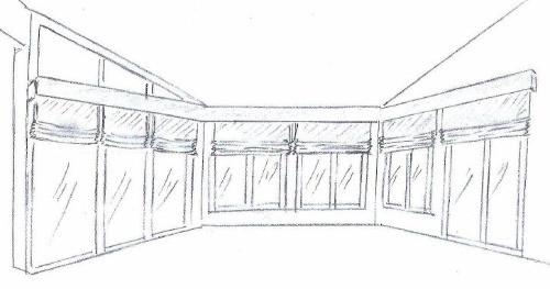 Sketch of roman shades in breakfast area