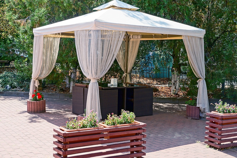 Airy outdoor sheers are a great addition to a gazebo.