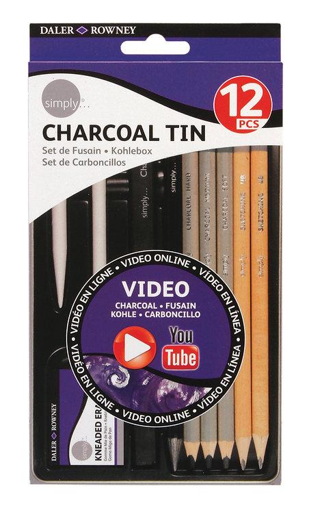 Charcoal tin DALER ROWNEY 12 pezzi