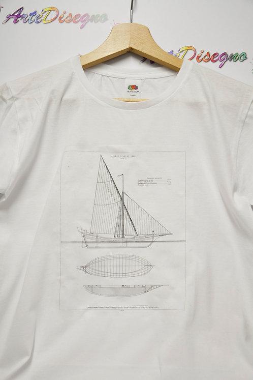 "T shirt bianca stampata ""barca Allege D'Arles 1840"""