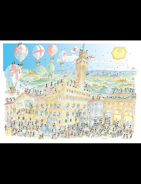 """Puzzle 50x70 """"Firenze Palazzo Vecchio"""" Linea le formiche di Fabio Vettori"""