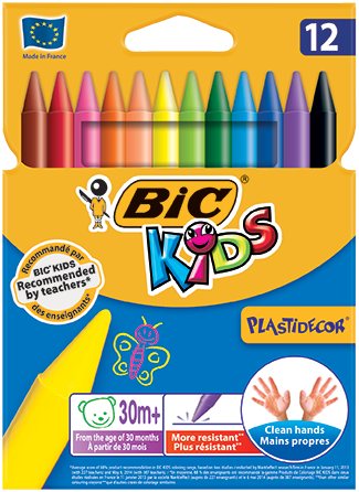 Set 12 pastelli colorati Plastidecor BIC KIDS