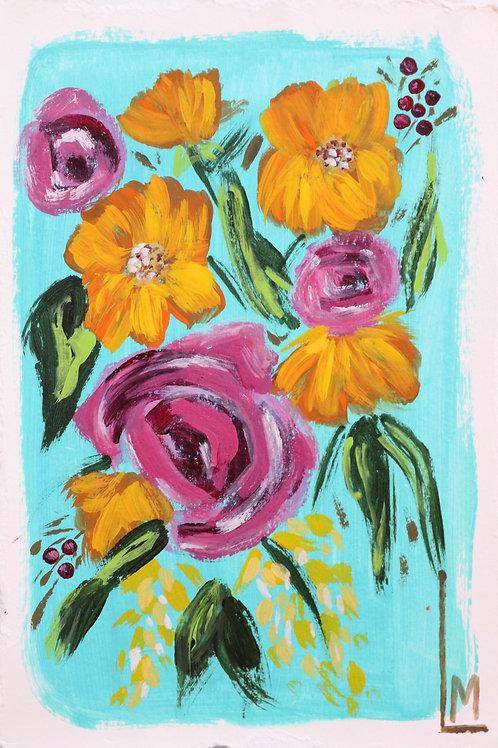 LE FLEUR in TEAL (Hand Embellished Print)